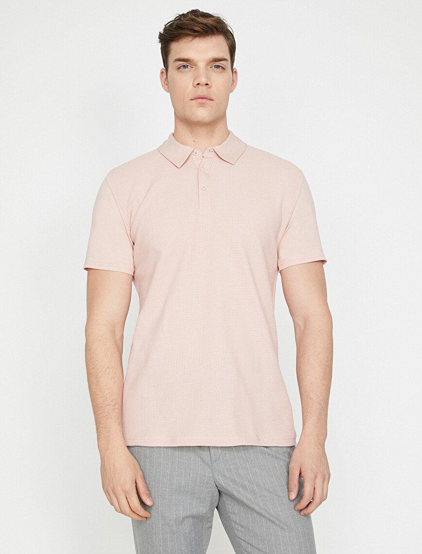 Polo Yaka Kısa Kollu Dokulu Kumaş Slim Fit Tişört