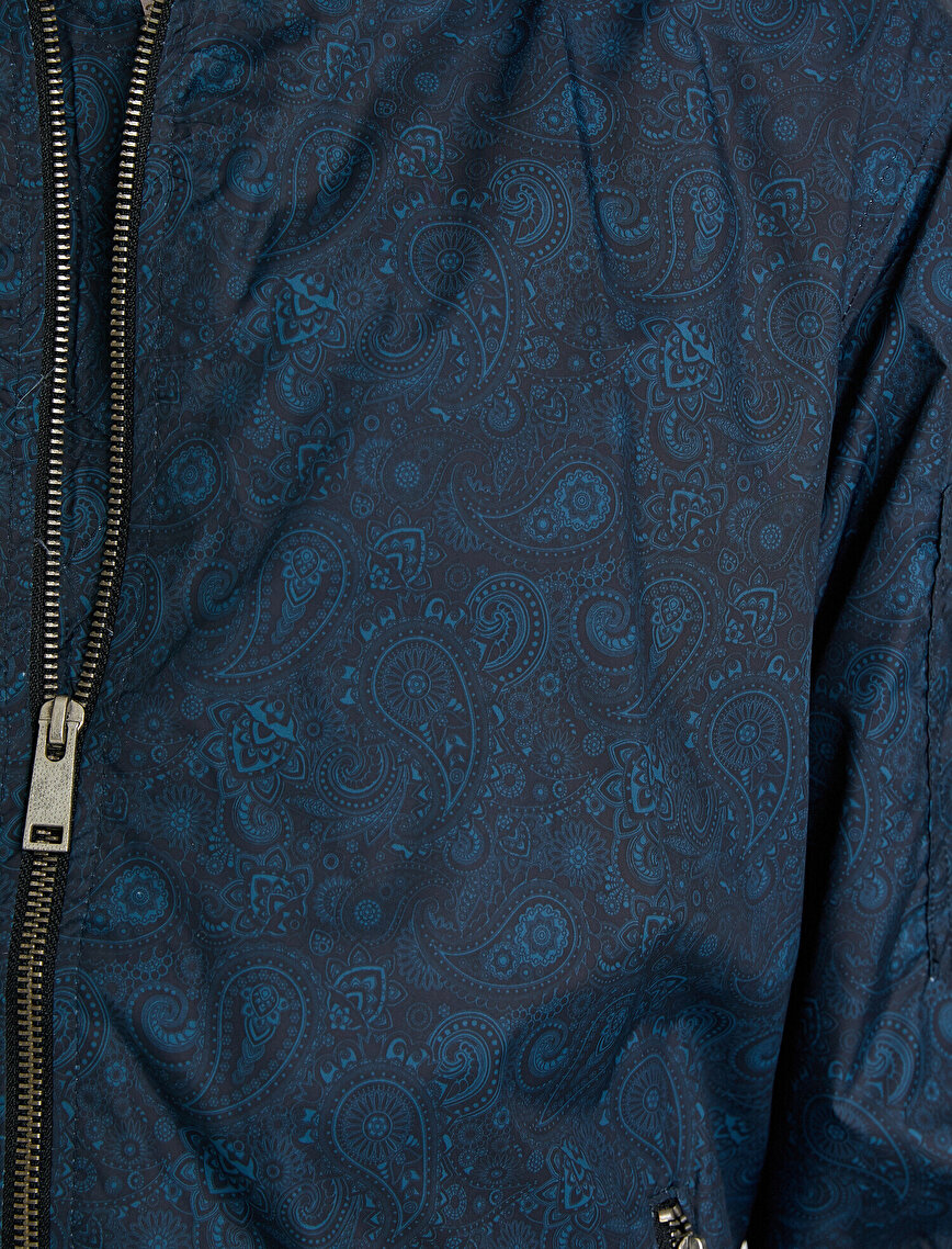 Desenli Ceket Fermuar Detaylı