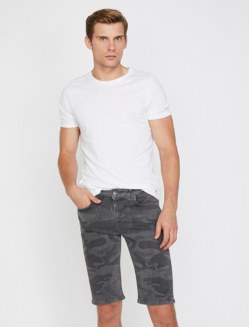 Camouflage Patterned Jean Short