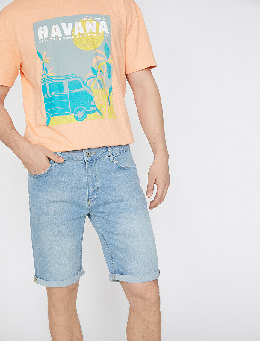 Pocket Detailed Jean Shorts