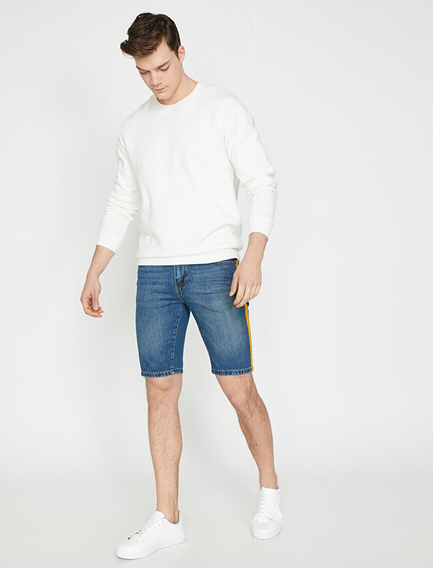 Banded Detailed Jean Short