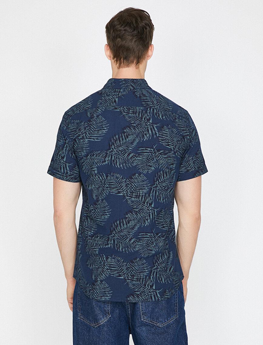 Yaprak Desenli %100 Pamuk Kısa Kollu Slim Fit Gömlek