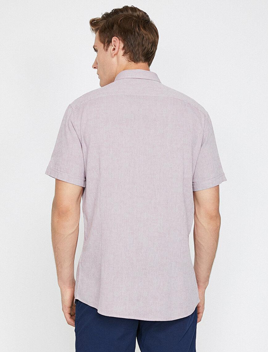 Fleto Cepli Slim Fit Cebi Düğme Detaylı Kısa Kollu Gömlek