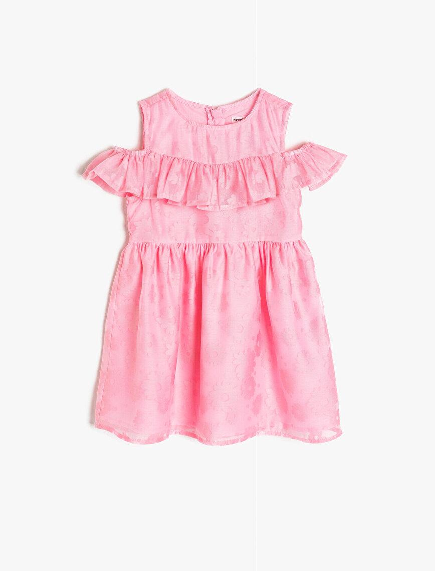 Çiçekli Kumaştan Yakası Fırfırlı Belden Oturtmalı Orta Boy Elbise