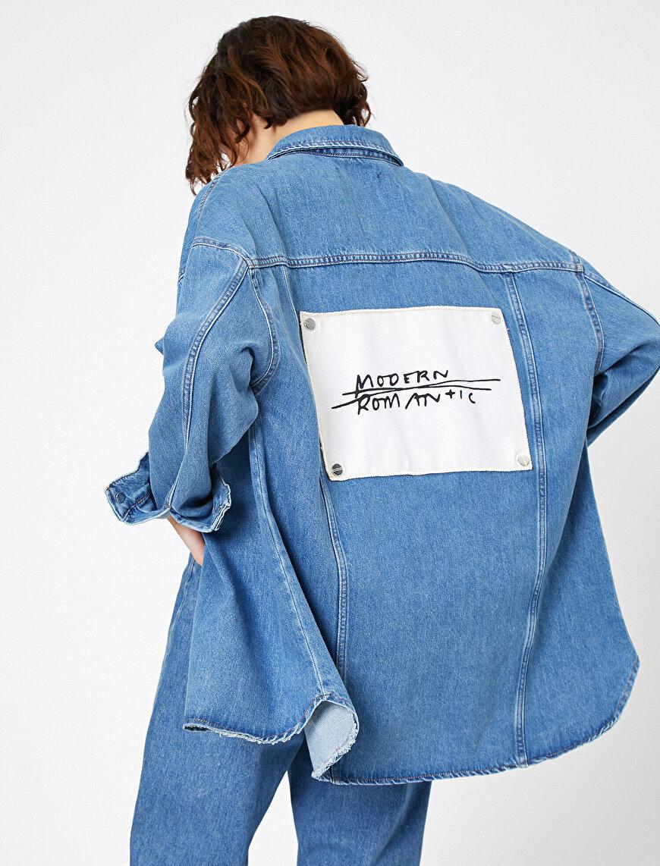 İşlemeli Jean Ceket