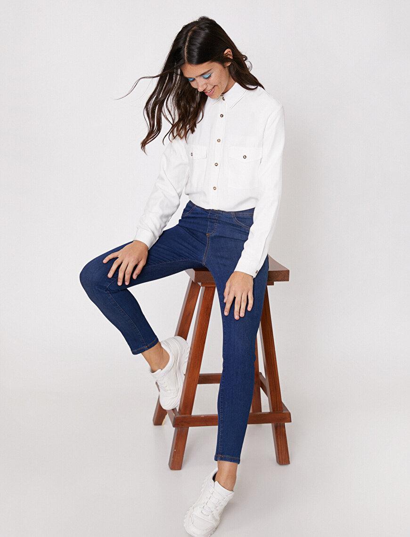 Legging Jean -Yüksek Bel Dar Kesim Dar Paça Pantolon