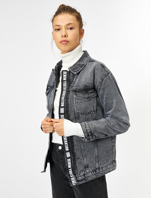Fermuar Detaylı Jean Ceket