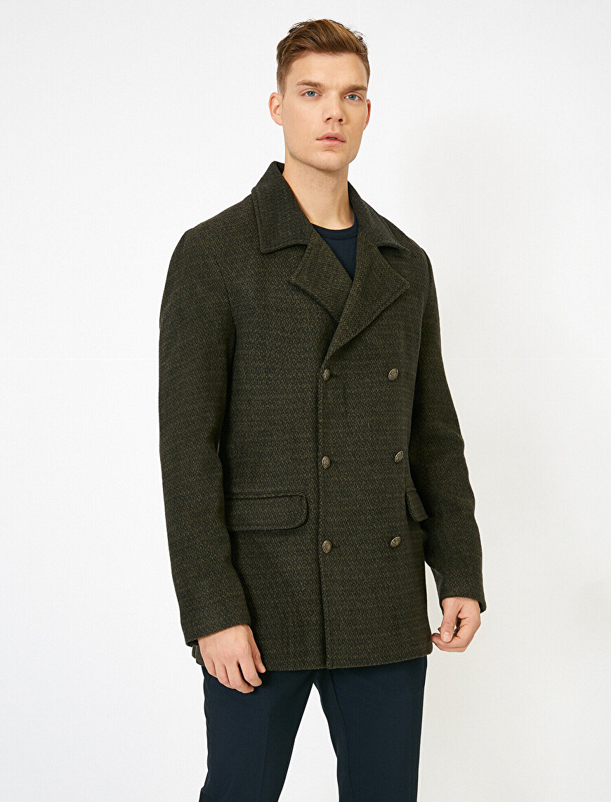Pocket Detailed Classic Collar Button Detailed Coat