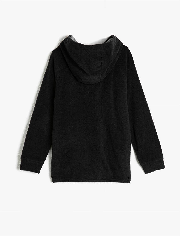 Uzun Kollu Kapüşonlu Fermuarlı Sweatshirt