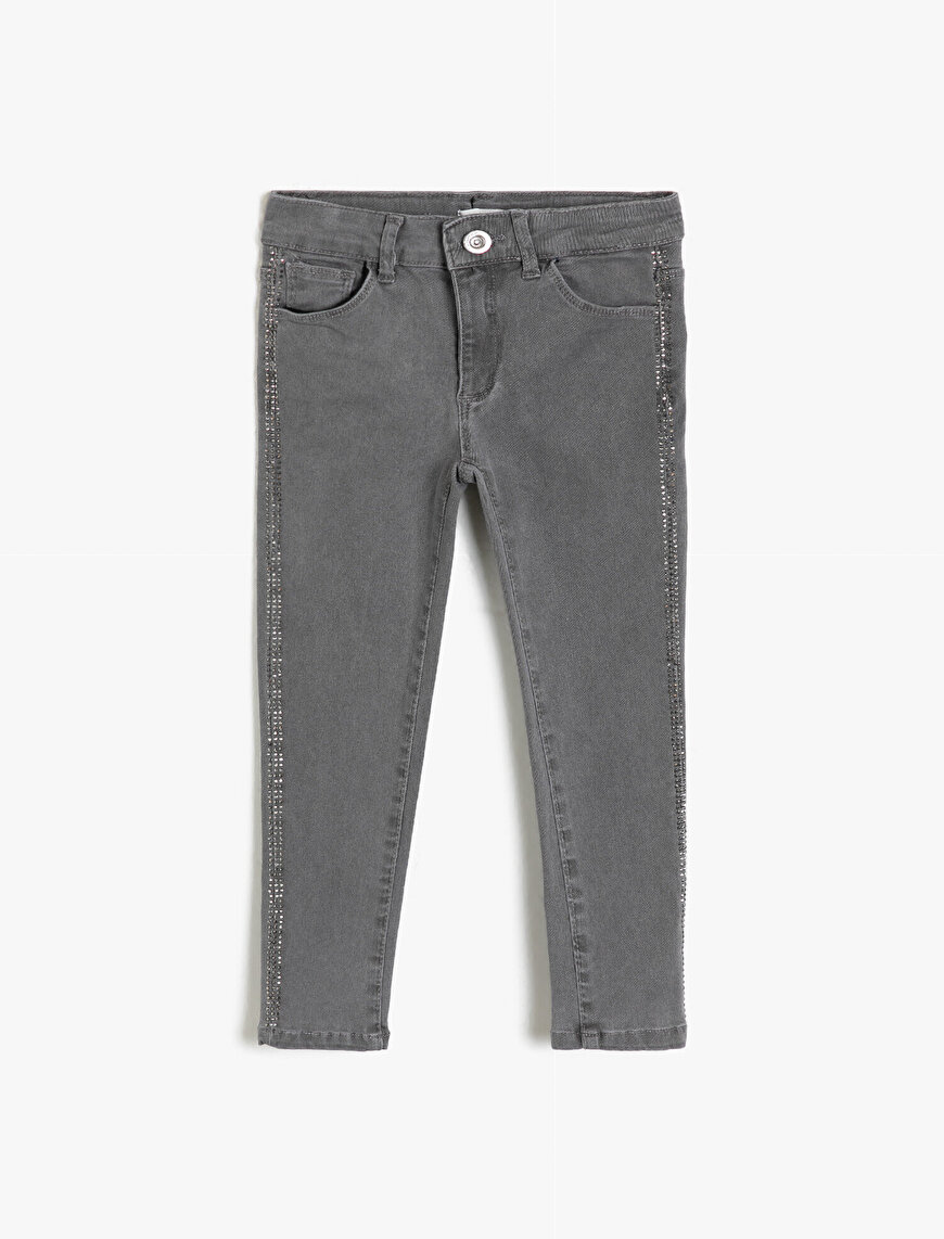 Stone Detailed Jean Trousers