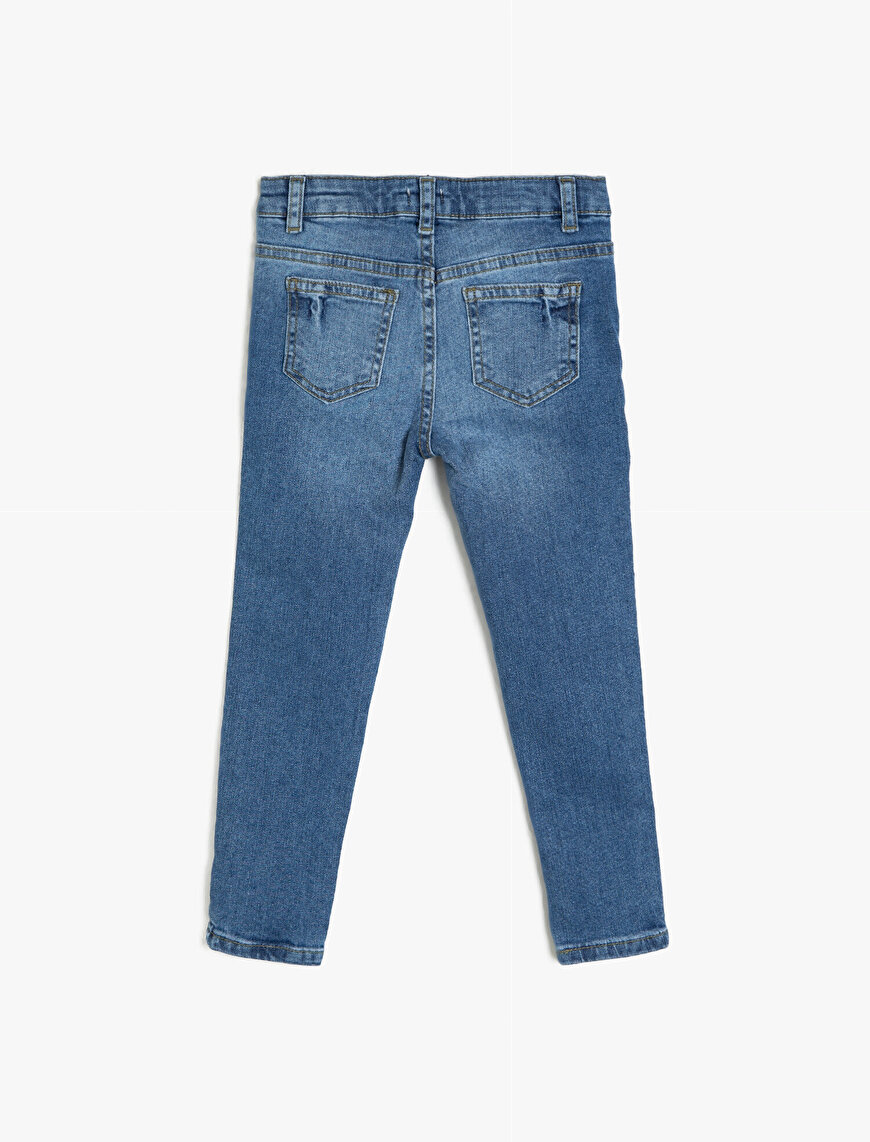 Banded Detailed Jean Trousers