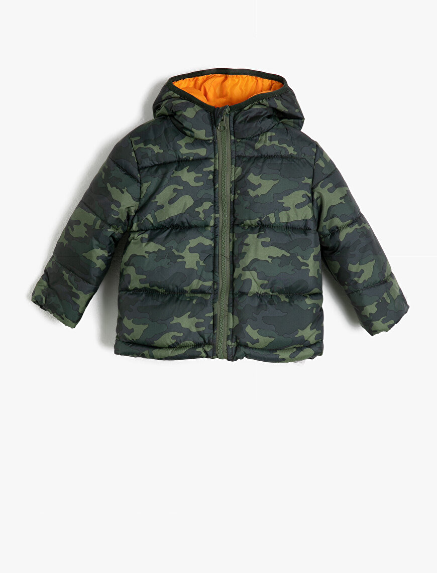 Camouflage Patterned Puffer Coat