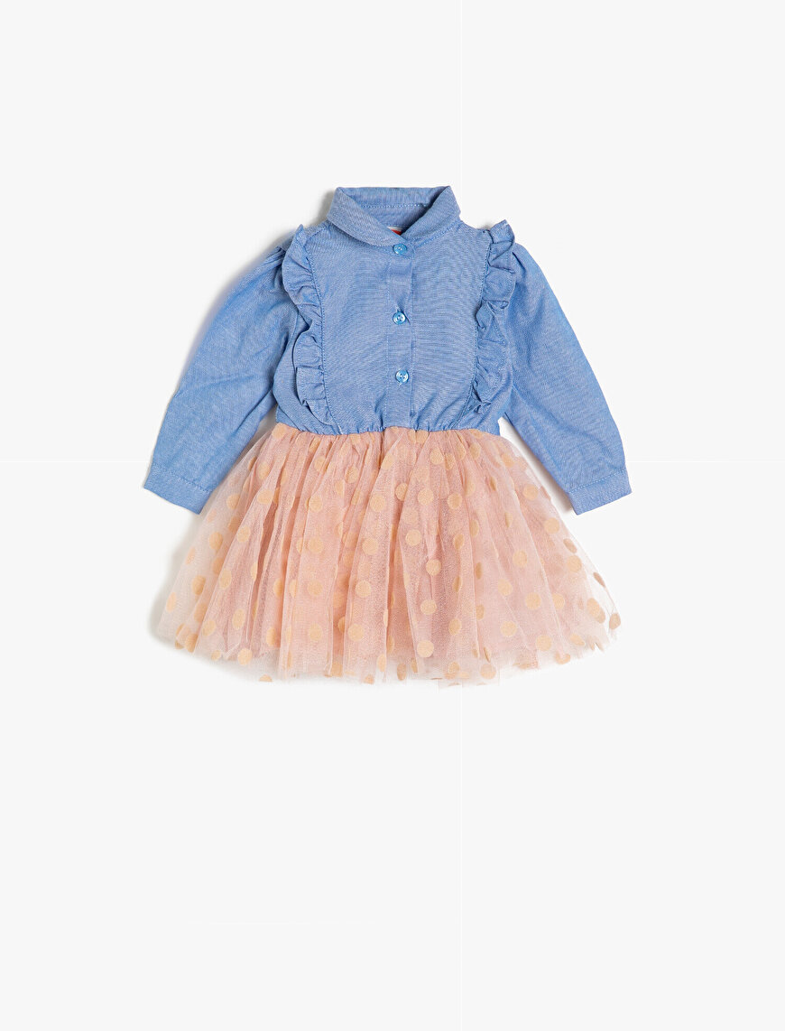 Tulle Detailed Jean Dress