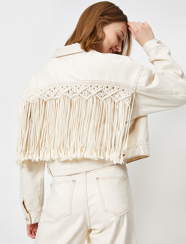 El Emeği Püskül Detaylı Jean Ceket