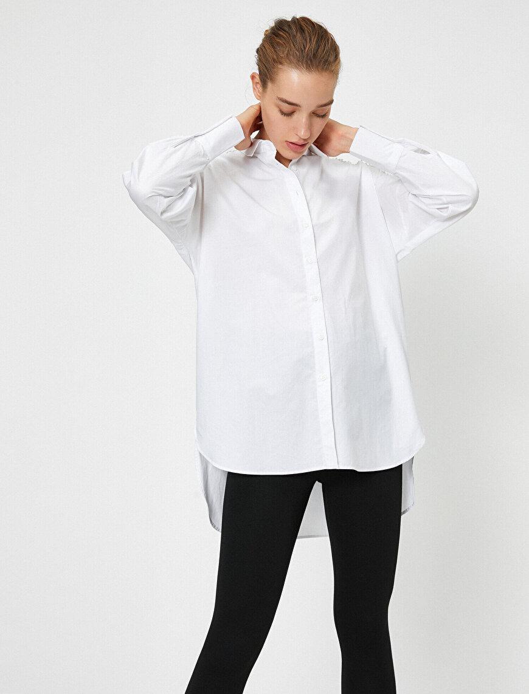 Uzun Kollu Gömlek Yaka Brode Bluz
