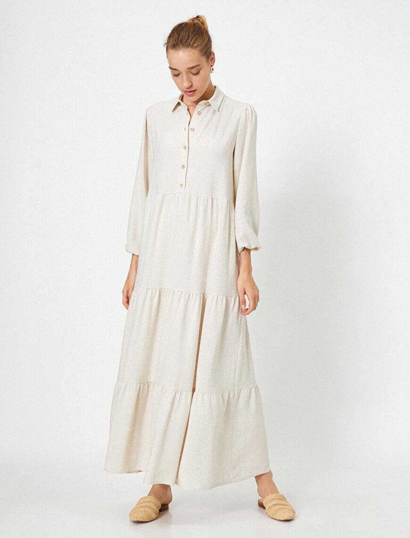 Keten Karışımlı Uzun Kollu Gömlek Elbise