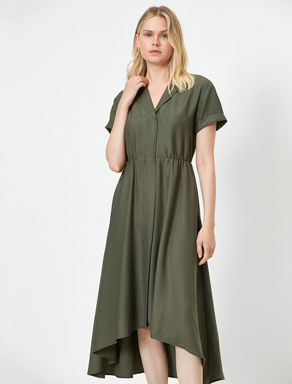 V Yaka Midi Elbise