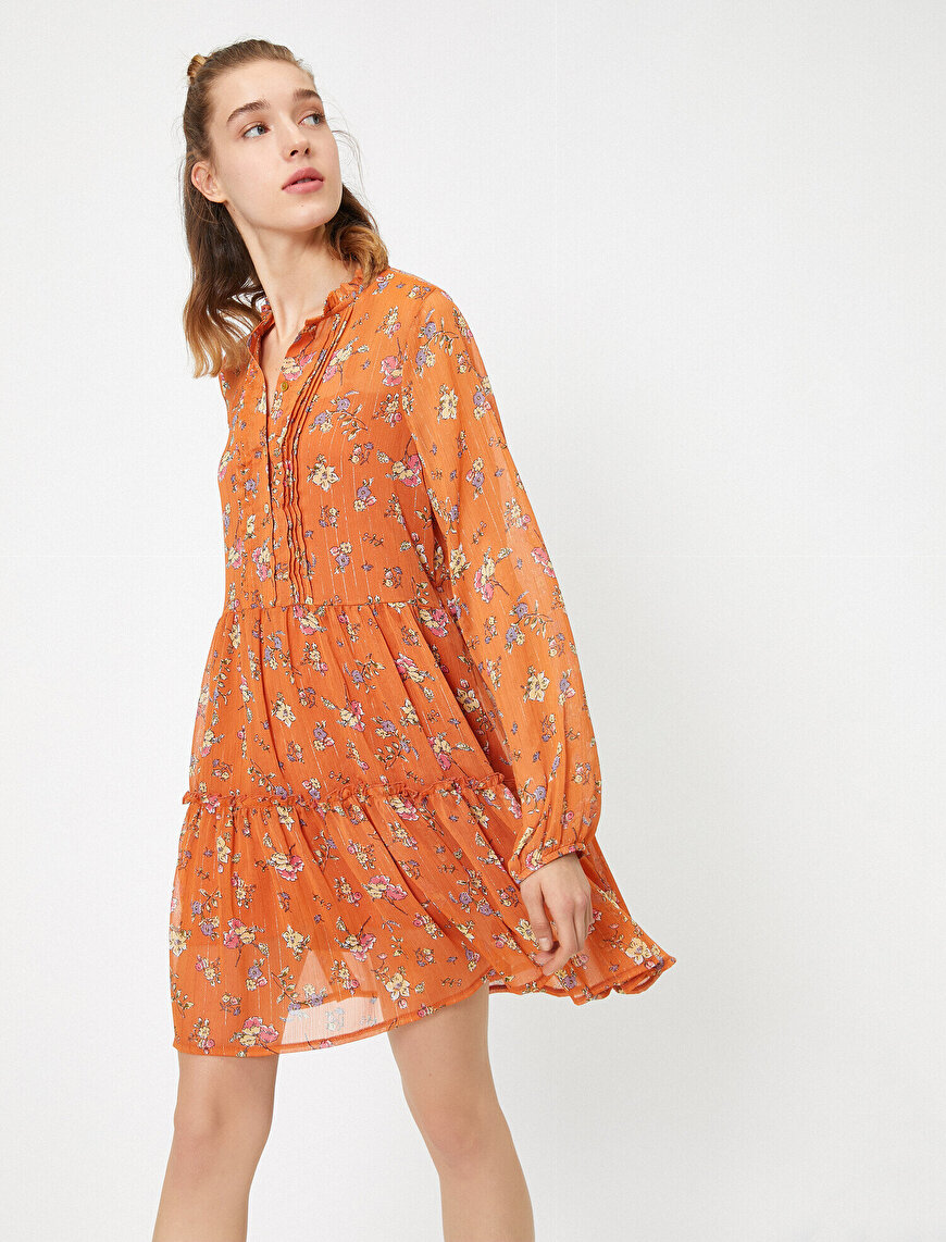 Patterned Button Detailed Mini Dress