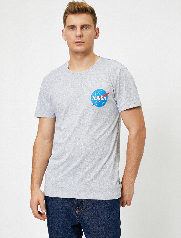 NASA Lisanslı Baskılı Kısa Kollu Bisiklet Yaka Tişört