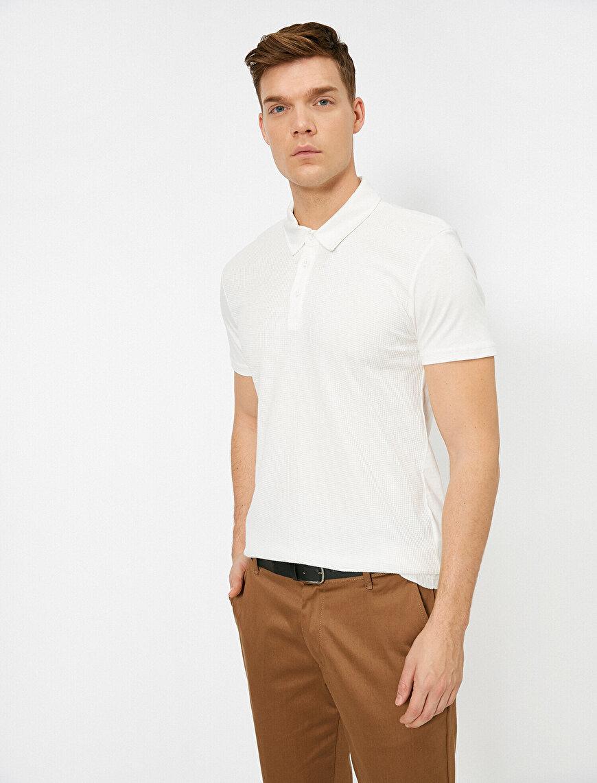 Polo Yaka Dokulu Kumaş Slim Fit Tişört
