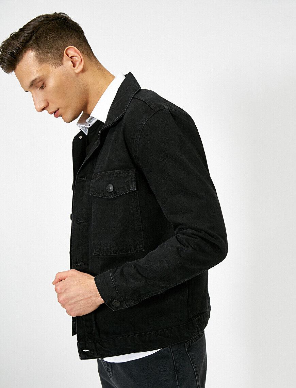Kare Cep Detaylı %100 Pamuk Jean Ceket