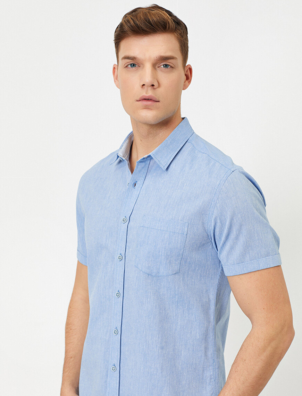 Tek Cepli Slim Fit Kısa Kollu Gömlek