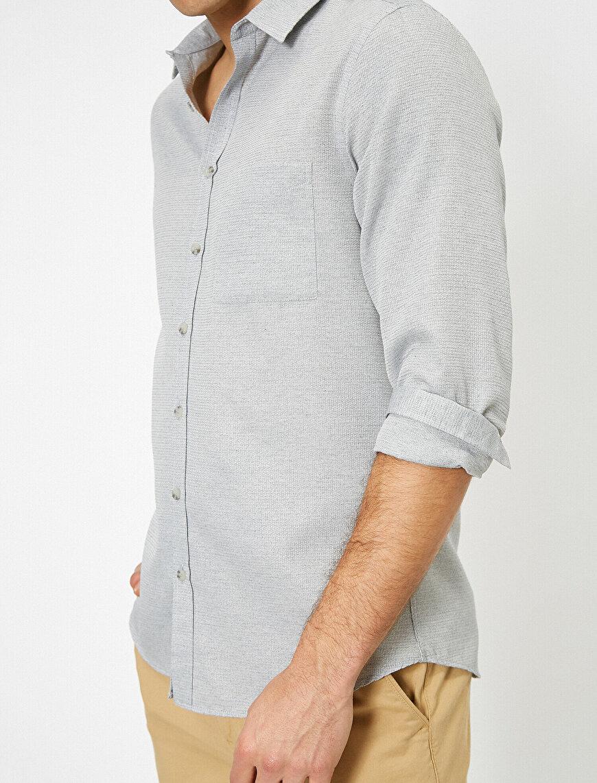 Tek Cepli Uzun Kollu Slim Fit Casual Gömlek