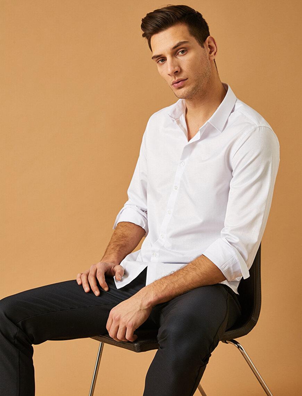 Minmal Desenli Düğmeli Yaka Uzun Kollu Smart Gömlek