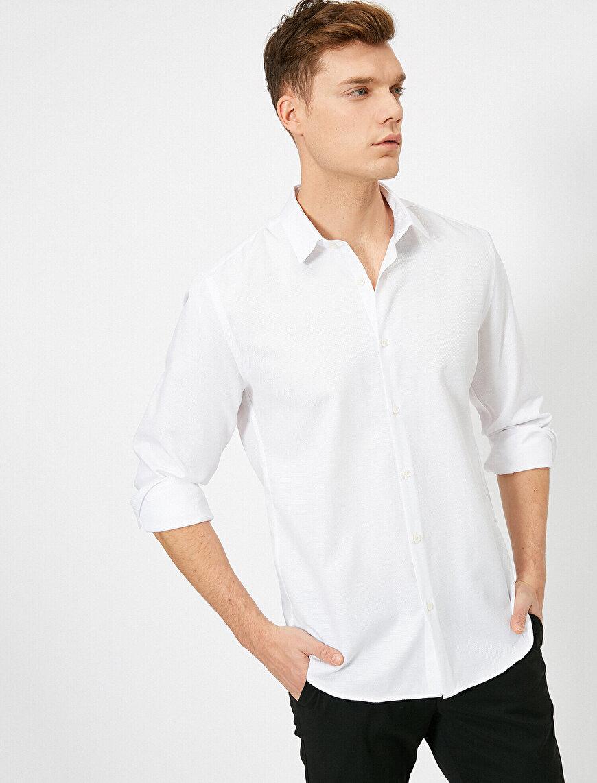İtalyan Yaka Uzun Kollu Slim Fit Gömlek