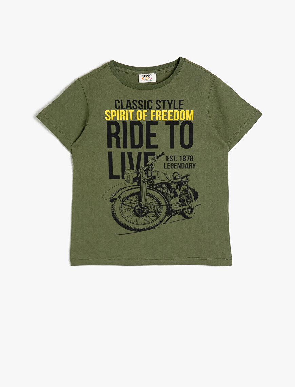 Pamuklu Baskılı Kısa Kollu Bisiklet Yaka Tişört