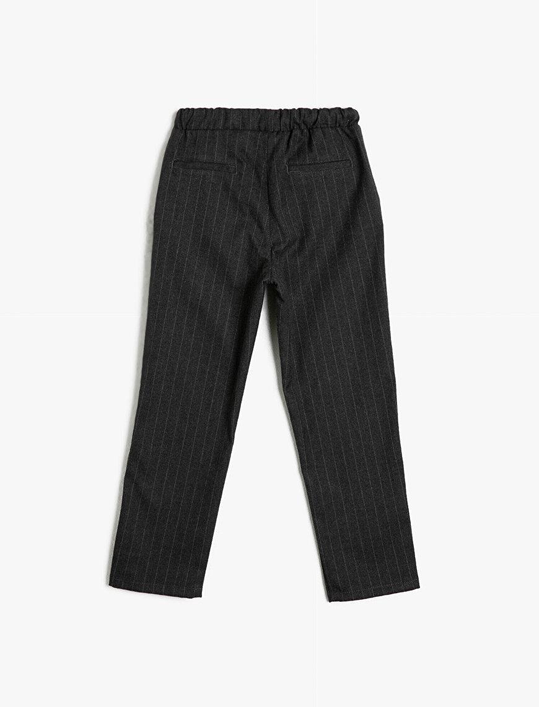 Çizgili Kumaştan Beli Lastikli ve Kordonlu Cepli Pantalon