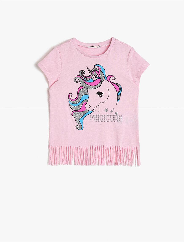 Simli Unicorn Baskılı Püsküllü Kısa Kollu Pamuklu Yumuşak Tişört