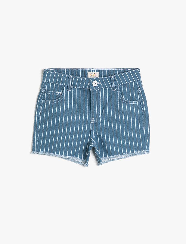 Çizgili Esnek Pantolon Kumaşından Beli Ayar Lastikli Kısa Jean Şort