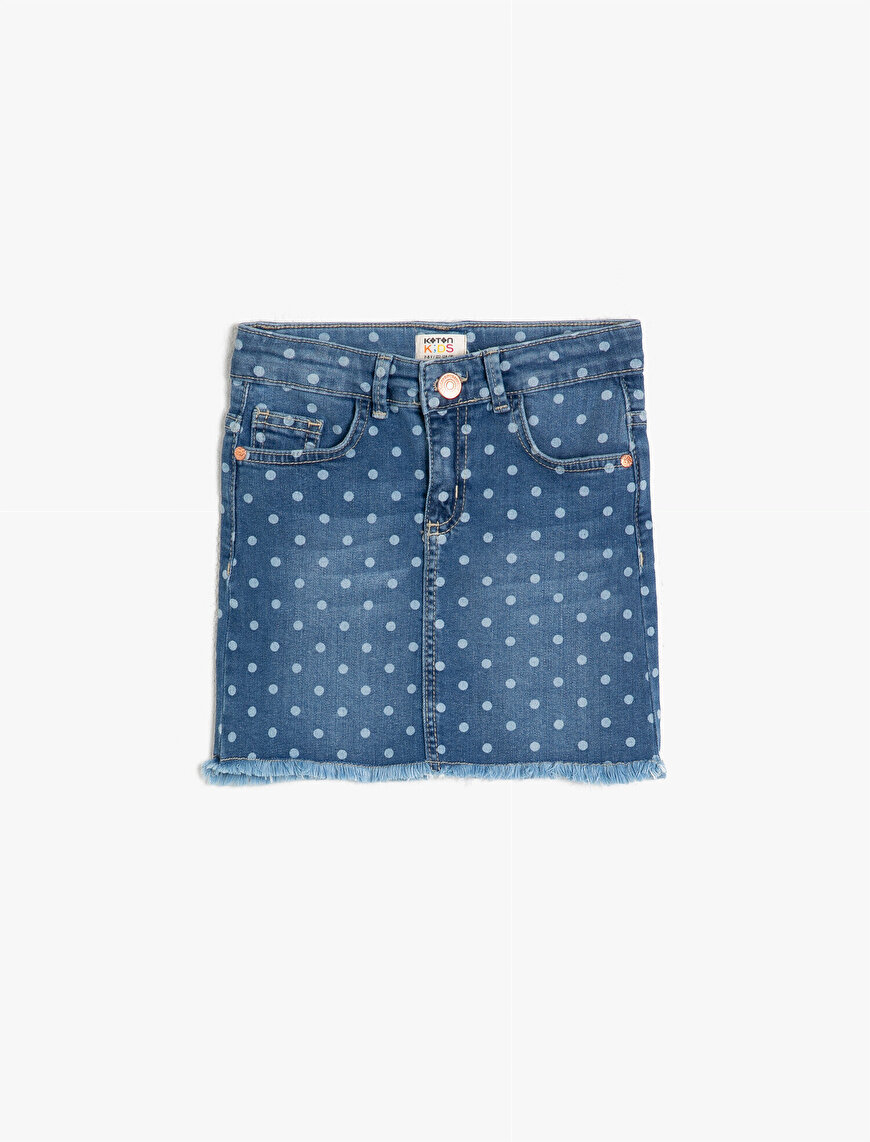 Dotted Jean Skirt