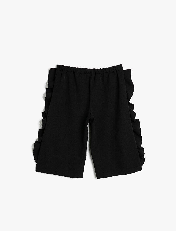 Dökümlü Kumaştan Beli Lastikli Yanları Fırfırlı Normal Bel Kısa Pantolon
