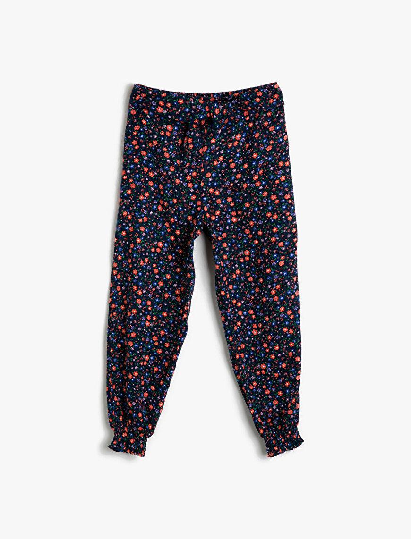 Çiçekli Dökümlü Kumaştan Beli Lastikli Bol Harem Pantolon