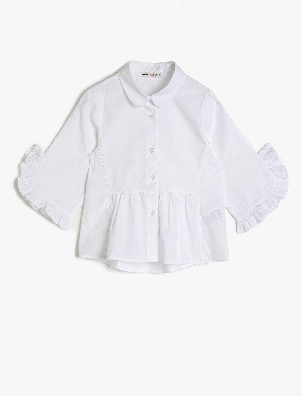 Poplin Kumaştan Kolu Fırfırlı Büzgülü Bol Kesim Kısa Kollu Gömlek