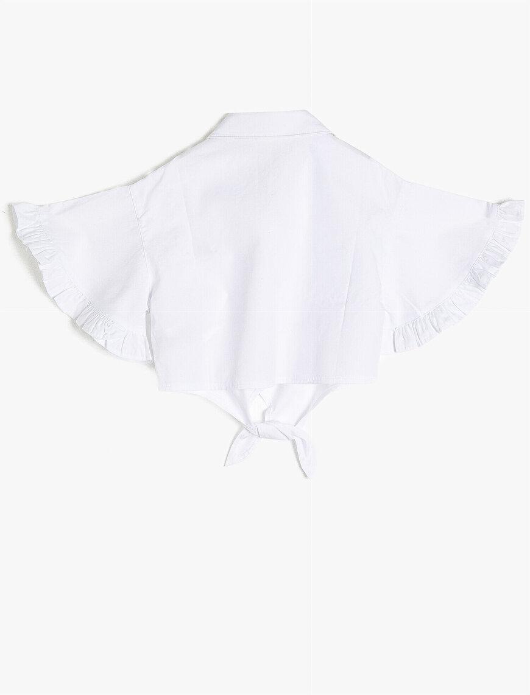 Kolları Fırfırlı Çiçek İşlemeli Beli Bağlama Detaylı %100 Pamuklu Gömlek
