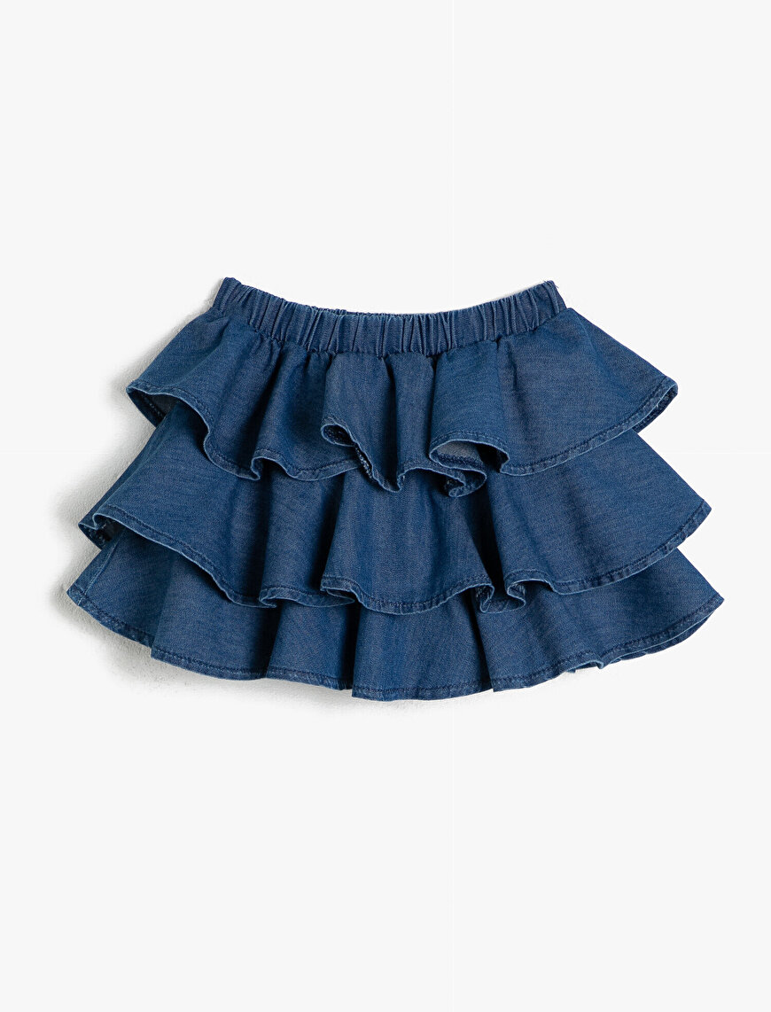 Frill Detailed Jean Skirt