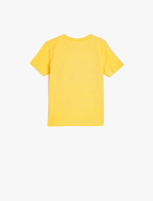 Kısa Kollu Bisiklet Yaka Baskılı Tişört