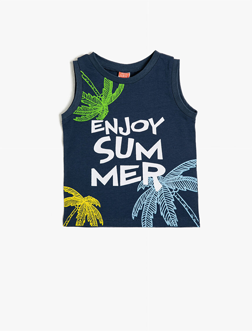 Printed Crew Neck Tank Top