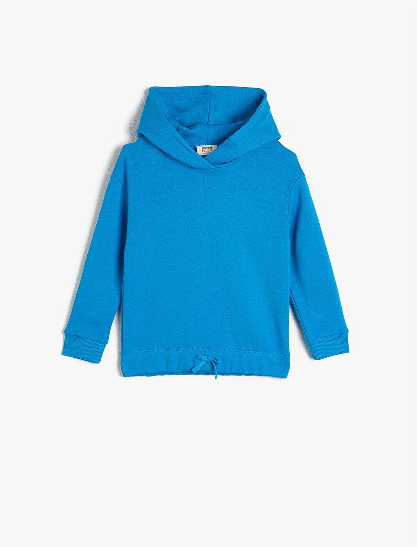%100 Pamuk Kapüşonlu Bağlamalı Sweatshirt