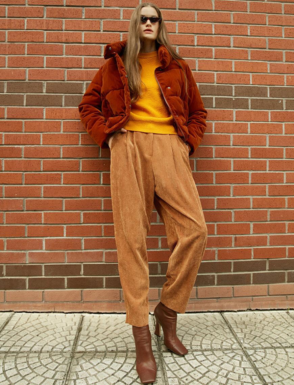 Zipped Velvet Look Crop Puffer Coat
