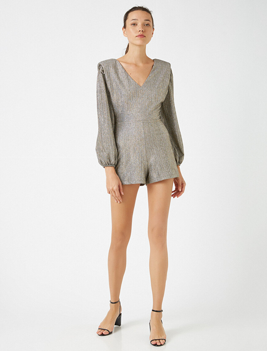 Shoulder Pad Metallic Long Sleeve Short Jumpsuit