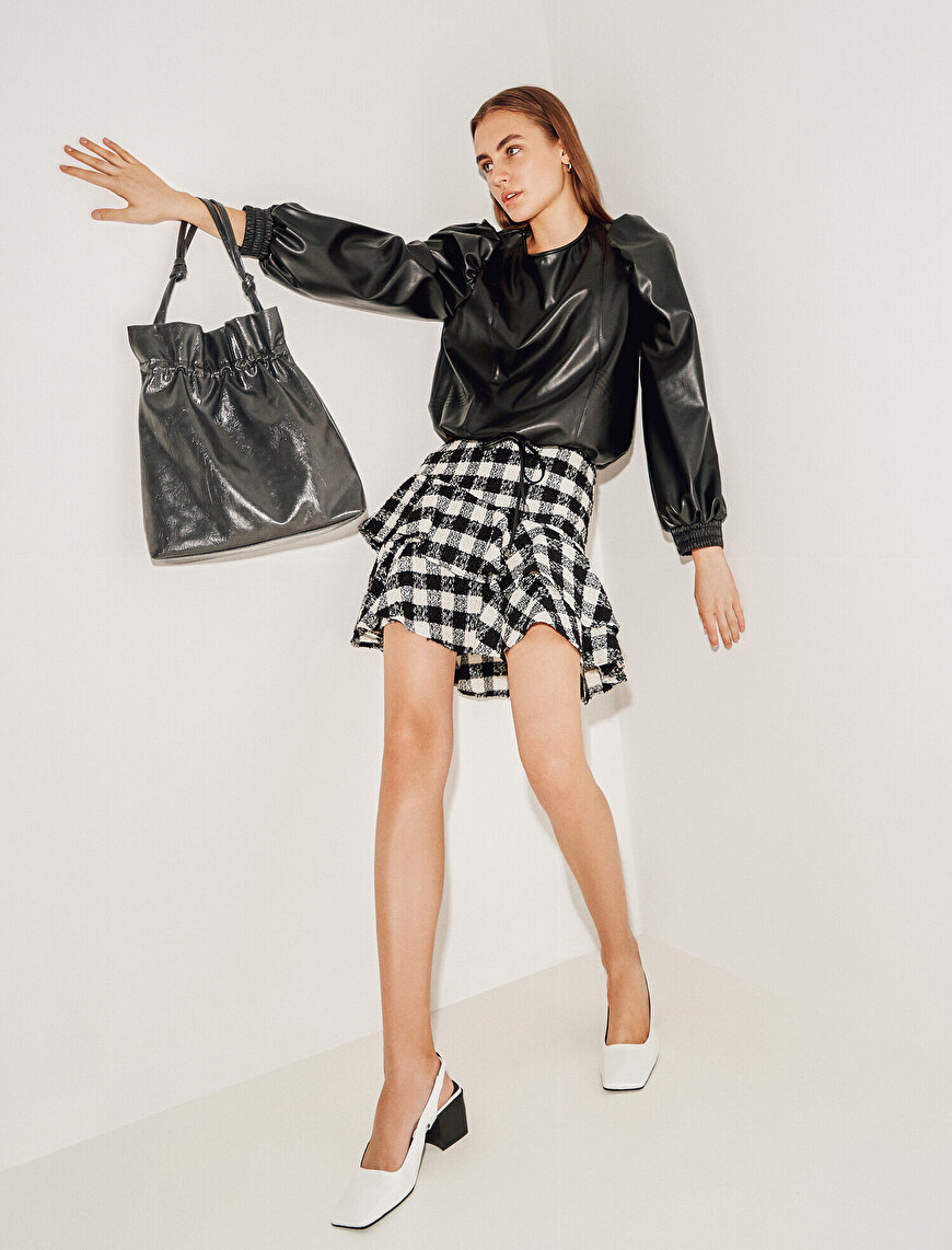 Faux Leather Puff Sleeve Blouse