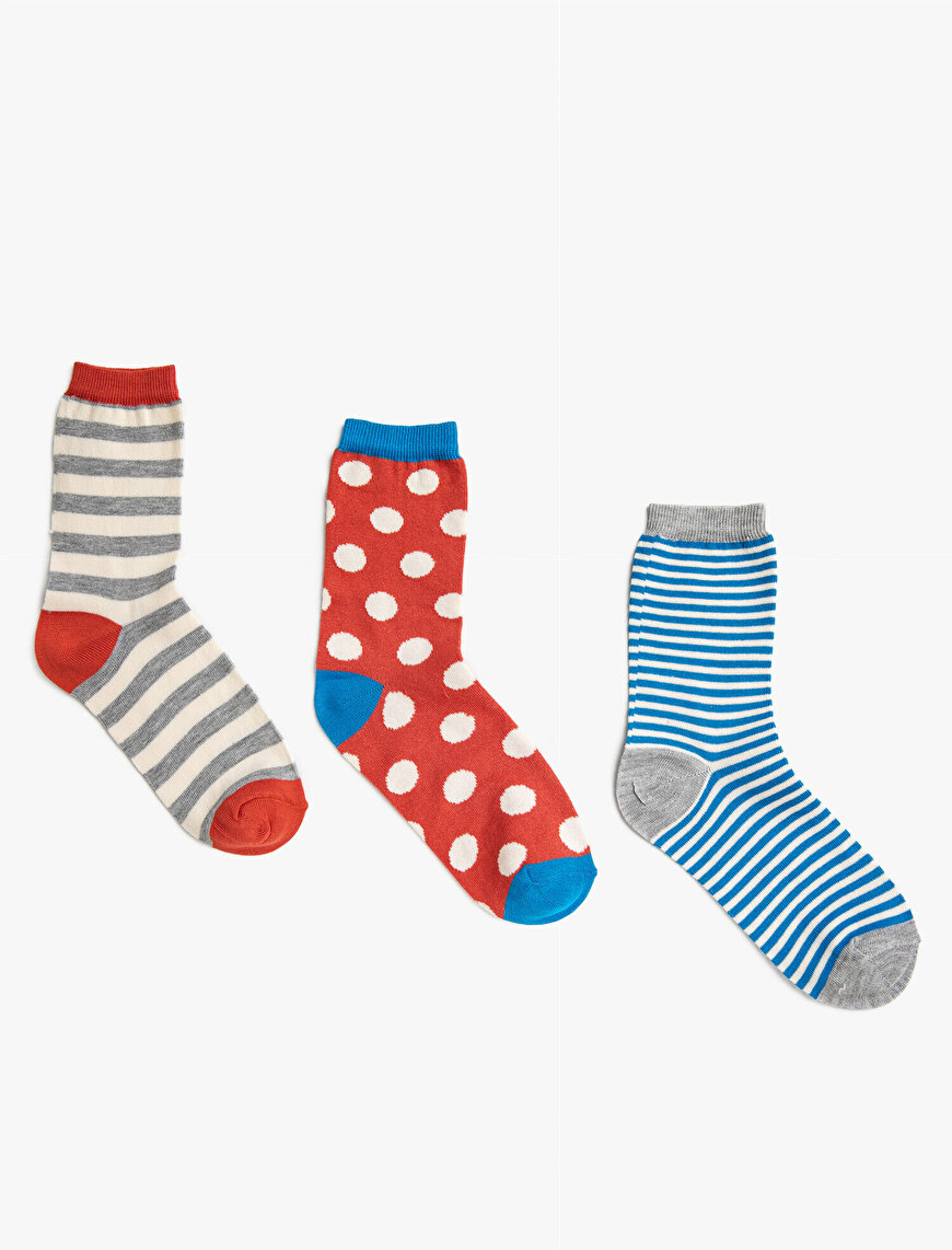 Woman Dotted Patterned Cotton 3 Pieces Socks Set