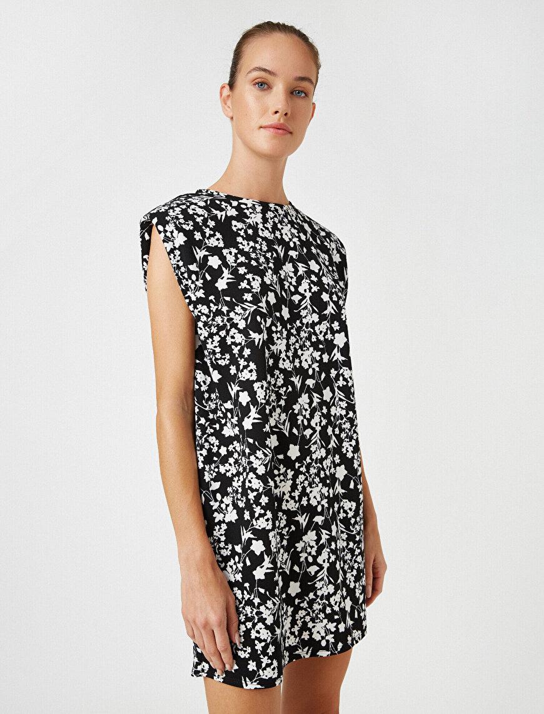 Shoulder Pad Flower Printed Sleeveless Mini Dress