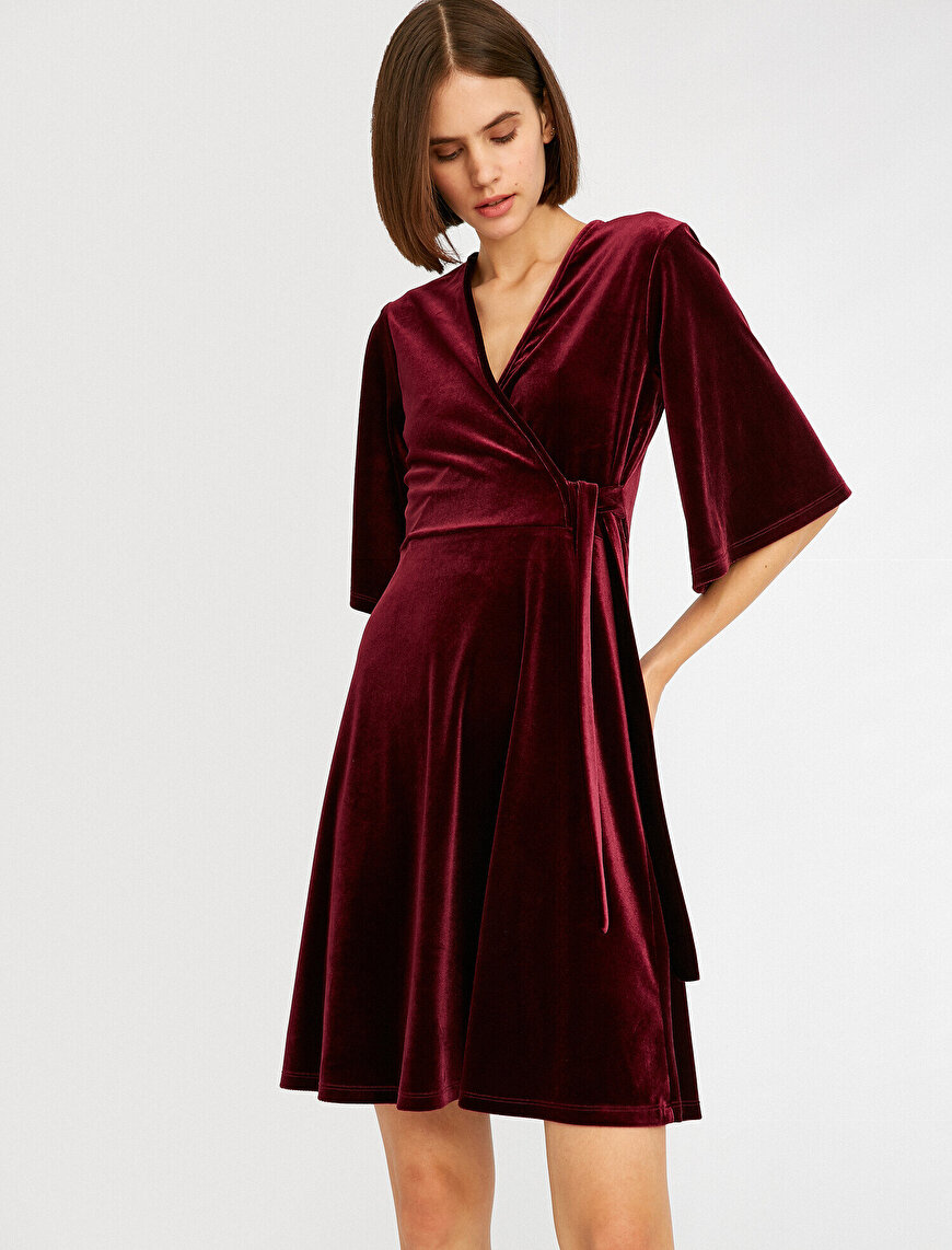 Velvet V Neck Lace Up Wrap Dress