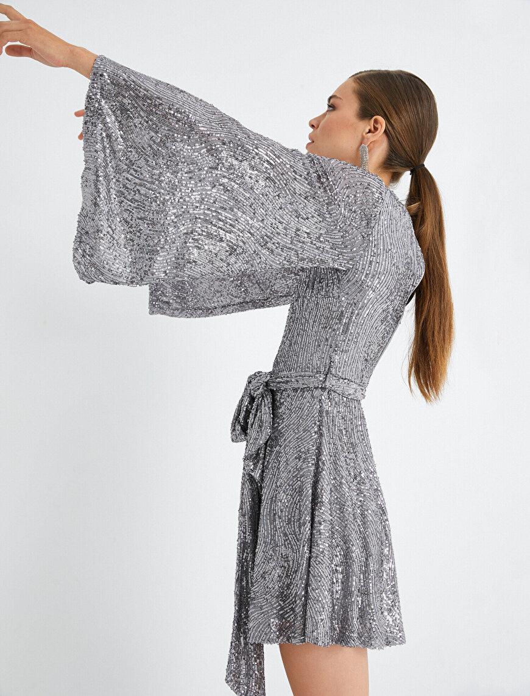 Payetli Elbise Abiye Uzun Kollu Kayık Yaka Kısa