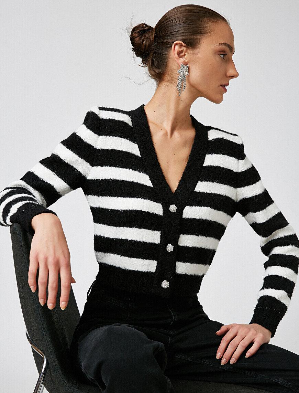 Arzu Sabancı for Koton Shoulder Pad Striped Button Detailed Cardigan